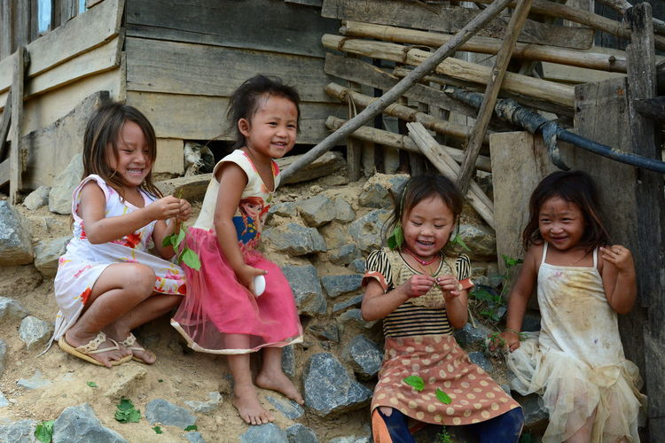 Children in a Hmong tribe village. Ban Hin Ngon. Laos Asian  Asian Culture Children Ethnic Ethnic Minority Hmong Hmong Life Hmong Tribe Laos Laotian Laotian People Local People Luang Prabang Portrait Smiling Children Southeastasia Travel Vientiane