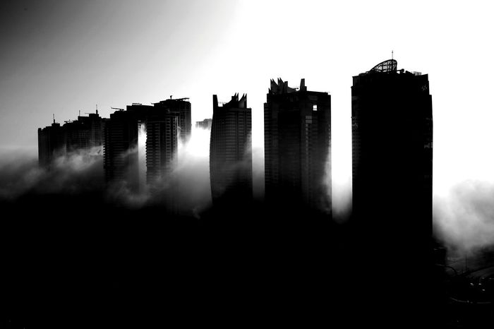 Morning Fog Dubai UAE JLT DXB Skyscrapers Skyline Fog Foggy Clouds Cityscape Blackandwhite Black And White Black & White Blackandwhite Photography