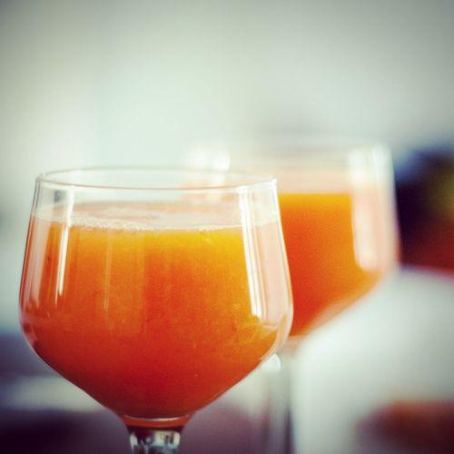 Close-up of fresh orange juices