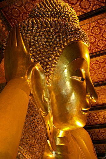 Art Buddha Close-up Cultures Focus On Foreground Golden Golden Buddha Golden Head Illuminated No People Orange Color Ornate