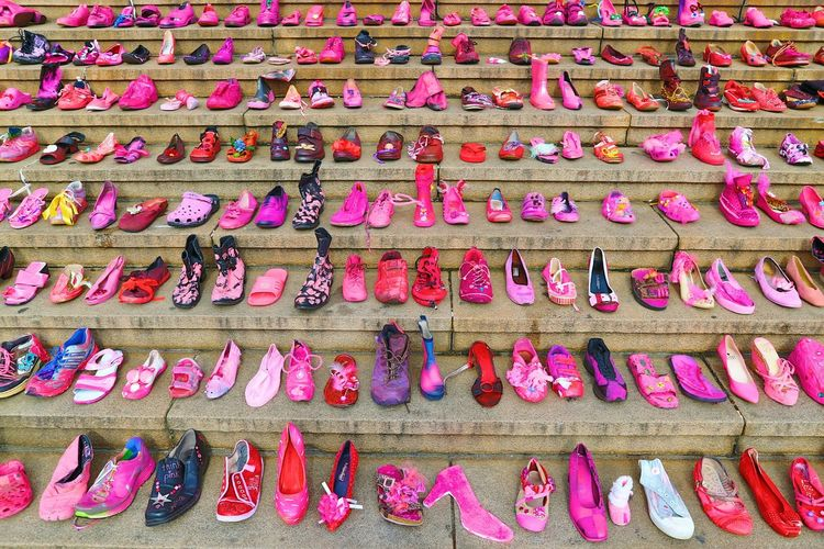 Backgrounds Full Frame Pink Color Shoes Pink Shoes 50 Shades Of Pink Stairs Stages In A Row Colors and patterns EyeEm Diversity