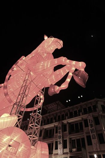 Astrology Sign Big Horse  Chinese New Year 2014 Horse Riding Low Angle View Night Nightphotography No People Outdoors Paper Horse Red Singapore Sky