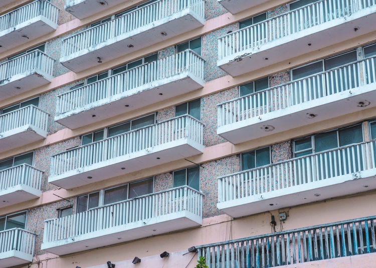 Low angle view of balconies