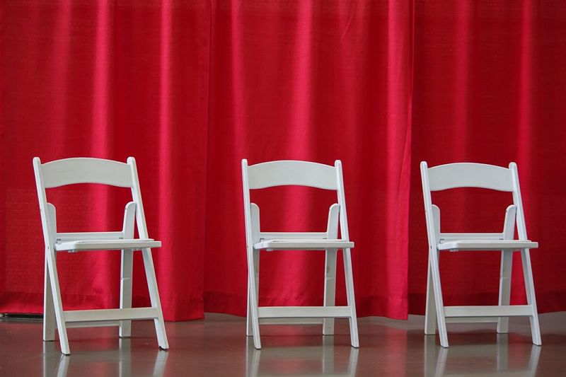 White Chairs With Red Background, Simplicity, Simple Design Your Design Story Fine Art Photography Lieblingsteil