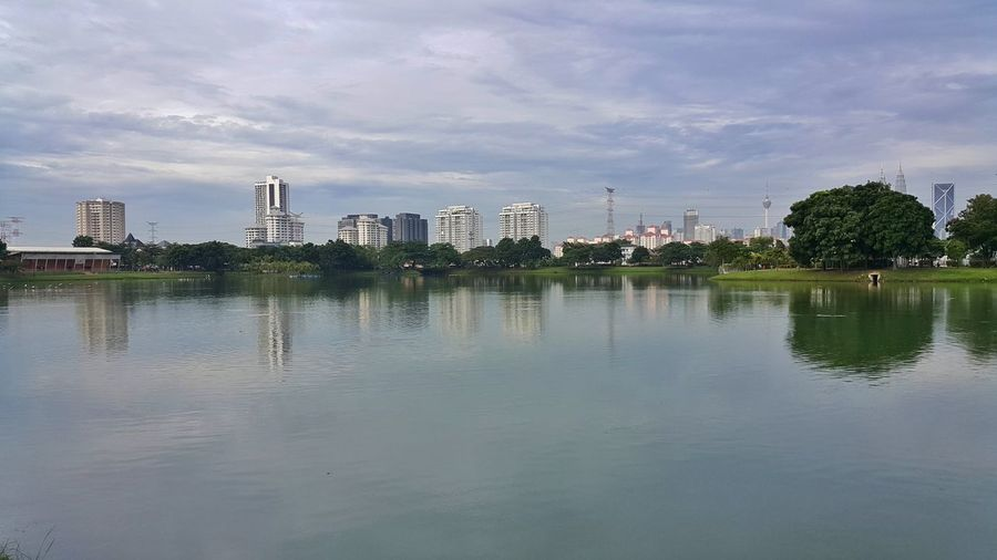 Serenity Urban Skyline Water Reflection Lake Calm Serene Blue Sky Outdoors From Where I Stand Cityscape From A Distance Tasikampang Kuala Lumpur Malaysia