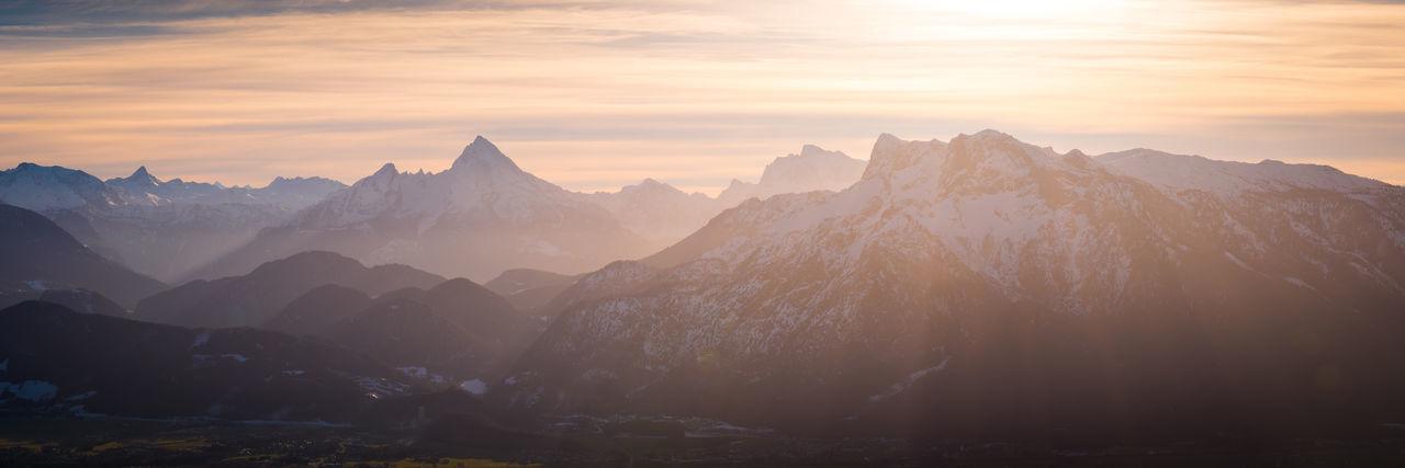 Berchtesgaden Alps as seen from Gaisberg in Salzburg Mountain Mountain Range Environment Landscape Sunset Outdoors Nature Mountain Peak Watzmann Alps Austria Salzburg Gaisberg Sundown Berchtesgaden