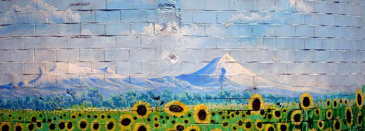 Architecture Backgrounds Blue Sky Creativity Design Graffiti Landscape Pattern Skyline Street Art Sun Flowers Textured  Tile Urban Art Urban Art Forms Wall Wall - Building Feature 43 Golden Moments Adapted To The City