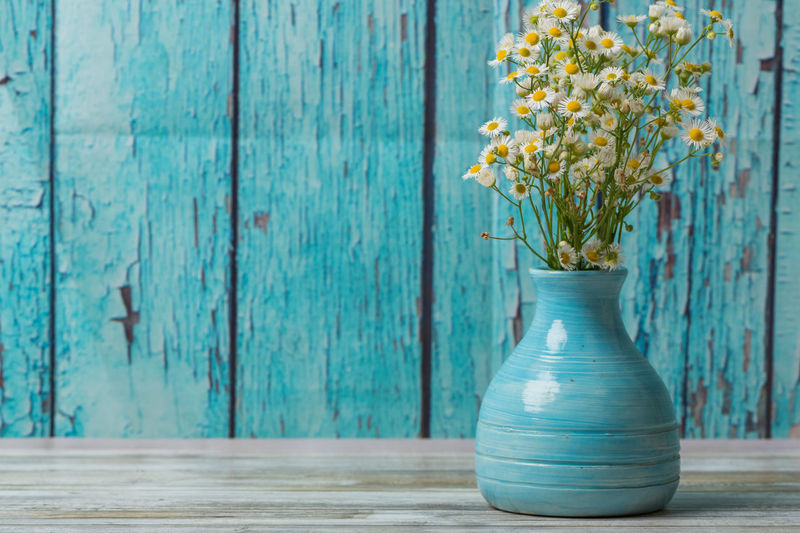 White flowers in a vintage blue vase Chamomile Daisy Rustic Vase Background Beauty In Nature Blue Bouquet Bouquet Of Flowers Decoration Flower Flower Arrangement Flowers Nature Plant Small Turquoise Colored Vintage White Wood - Material Yellow