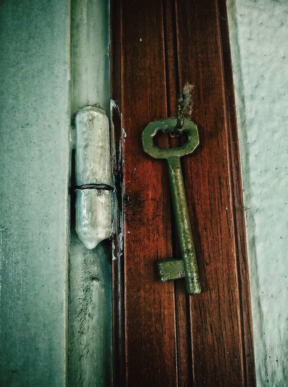 CLOSE-UP OF CLOSED DOOR ON WOODEN WALL
