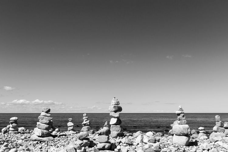Coastline Nature Stack Sweden Tranquility Balance Beauty In Nature Black And White Day Horizon Over Water Landscape Monochrome No People Outdoors Pebble Rock - Object Scenics Sea Sky Black And White Friday Stone - Object Stone Material Tranquil Scene Water Öland