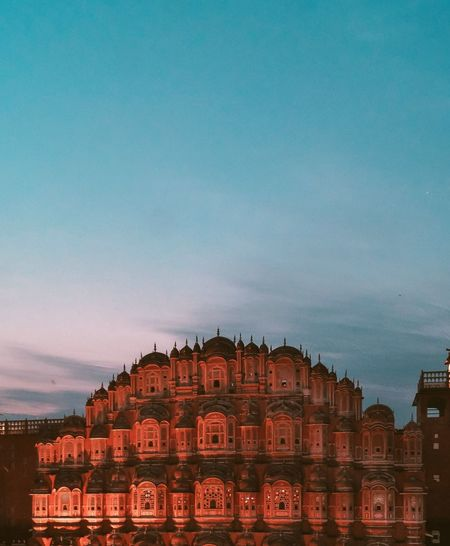 hawamahal, Jaipur Cityscape Illuminated Red Politics And Government Sky Architecture Building Exterior Built Structure Palace Historic Royalty Historic Building History Past First Eyeem Photo
