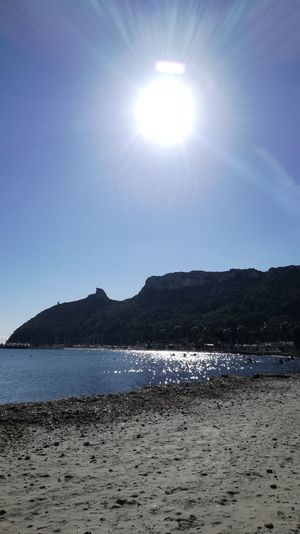 Poetto beach today Sardinia Sardegna Italy  Today :) Light Winter Sun Sea Beach Sand Water No People Nature Outdoors Beauty In Nature Sunlight Sky Day Tranquility Clear Sky Scenics Tranquil Scene Sunny Blue Horizon Over Water