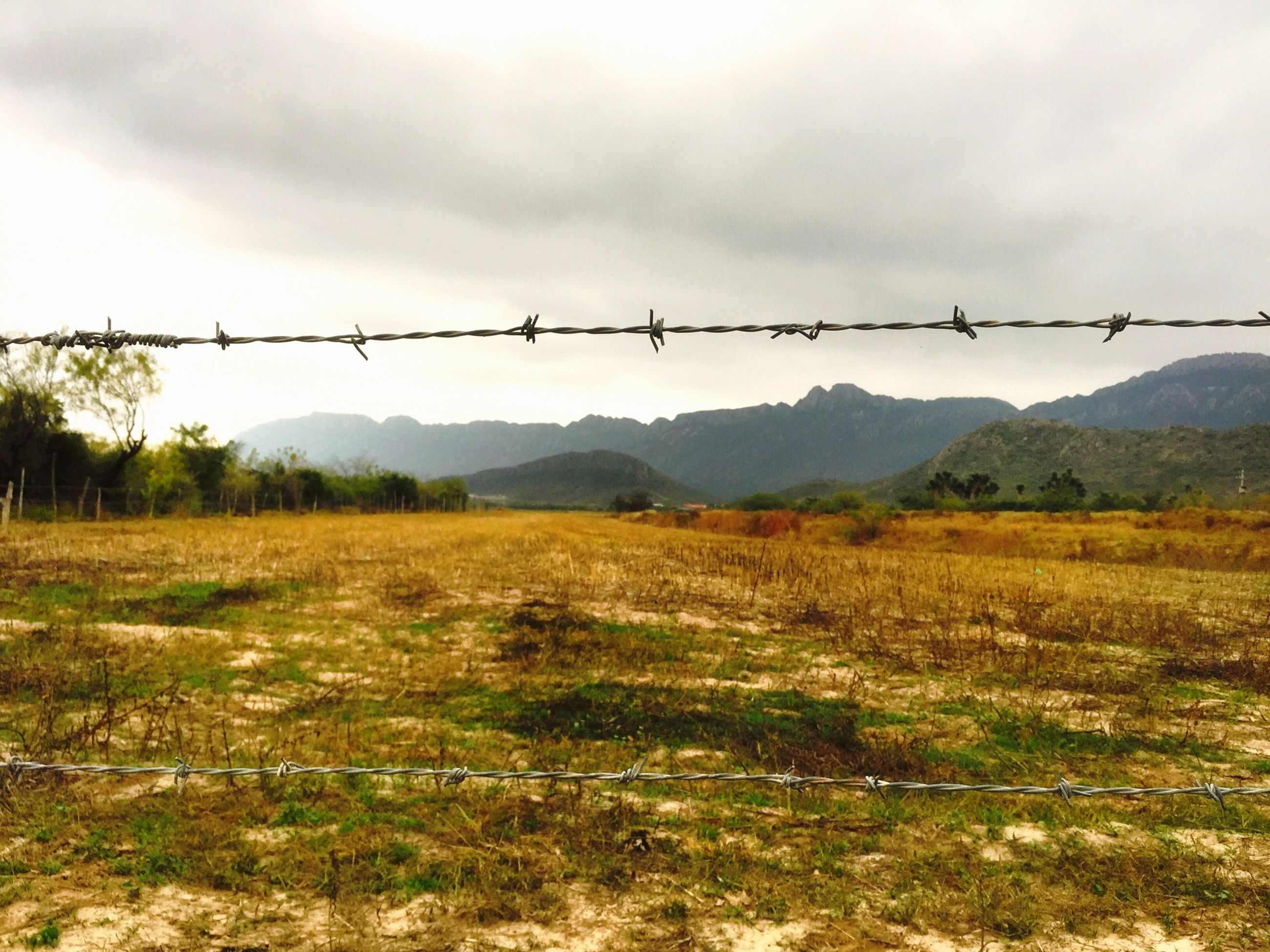 sky, landscape, field, fence, tranquility, tranquil scene, rural scene, barbed wire, scenics, agriculture, nature, protection, cloud - sky, safety, beauty in nature, farm, cloud, mountain, plant, outdoors