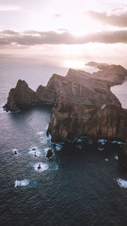 As free as the ocean. Nature Beauty In Nature Scenics Sea Rock - Object Rock Formation Tranquility Sky Water Tranquil Scene Sunset Landscape No People Mountain Cliff Outdoors Day Madeira