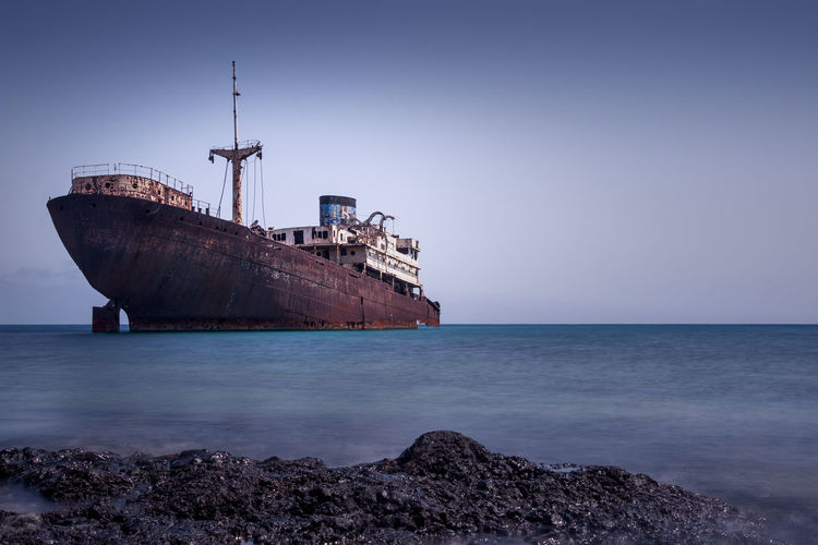 Scenic View Of Ship Against Sky