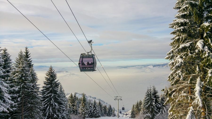 Escaping the fog Cable Car Winter Fog Foggy Valley Sky Sky And Clouds Horizon Landscape Landscape_Collection Landscape_photography Nature Snow❄ Mountain Adventure Water Tree RISK Danger Hanging Sky Overhead Cable Car Ski Lift Steel Cable Snow Covered Woods Tranquil Scene Snowcapped Mountain Tranquility Scenics