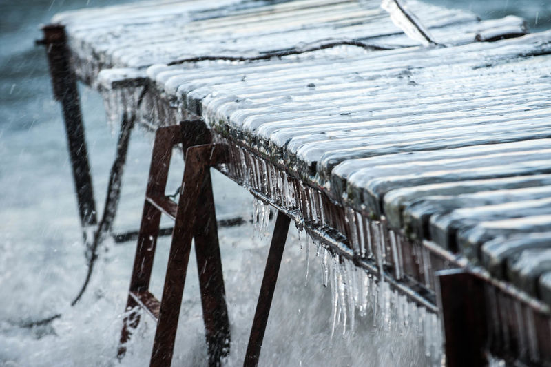 Close-up of icicles on metal during winter