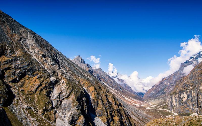 Beautiful mountain landscape view from tsho rolpa glacial lake, dolakha, nepal