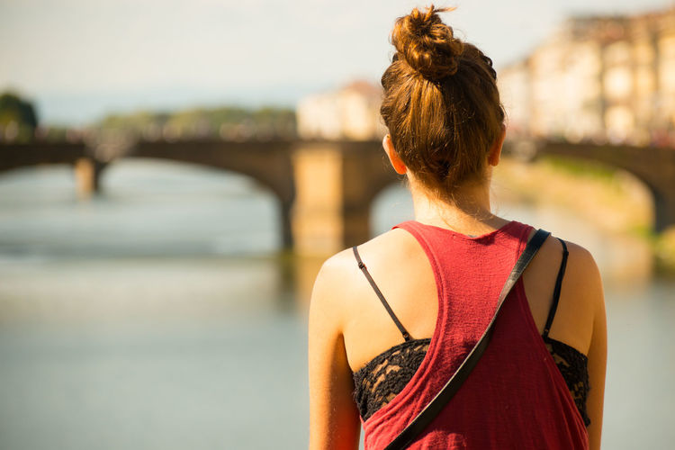 Arno  Attractive Day Florence Focus On Foreground Girl Hair Bun Real People Rear View River