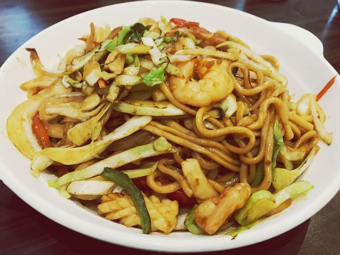 International Food series: Chinese Stir Fried Seafood Noodle Seafood Noodle Stir Fried Chinese Food Food And Drink Food Freshness Ready-to-eat Pasta Plate Italian Food Still Life Serving Size Close-up Table Indoors  High Angle View Vegetable Garnish Indulgence