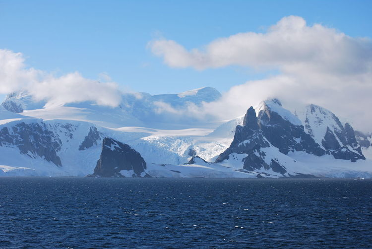 Scenic view of snowcapped mountains and sea against sky