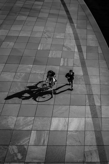 Real People Two People High Angle View Outdoors Day EyeEm Awards 2017 Black & White Black And White Monochrome Blackandwhite Photography Bnw Light And Shadow Street Photography