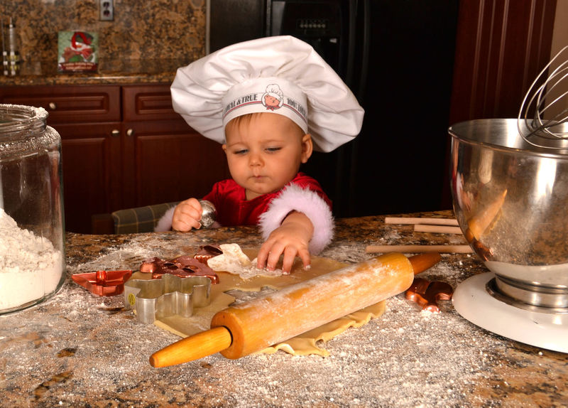 Baking Cookies Baker - Occupation Bakery Baking Baking Cookies Chef Chef's Hat Child Childhood Christmas Christmas Cookies Cookies Cooking Cute Flour Food Holiday Holiday Baking Indoors  One Person Toddler  Wooden Spoon