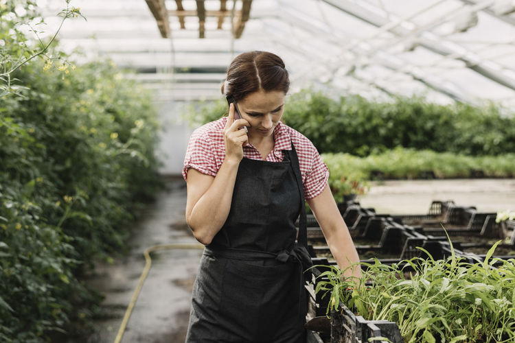Mid adult man standing in greenhouse