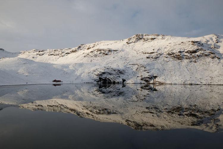 Djupavatn Iceland Reflection Winter Lake Reykjanes Snow