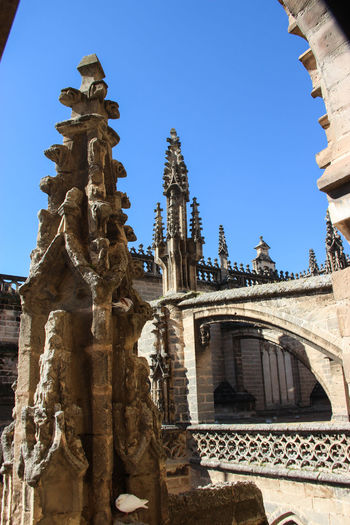 Cathedral of Sevilla Andalucía Cathedral Silhouette Architectural Feature Architecture Art Blue Sky Building Building Exterior Buildings & Sky Built Structure Clear Sky Day History Low Angle View No People Outdoors Place Of Worship Religion Sand Stone Sculpture Sky Spirituality Statue Sunlight