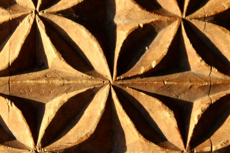 Carved In Wood Carving Kist Wooden Chest Pattern Detail Close Up Craftsmanship