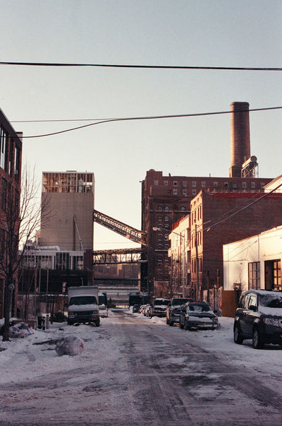 Architecture Brick Building Brooklyn Building Built Structure Cable City City Life City Street Day Diminishing Perspective Film Photography Golden Hour Parking Power Line  Road Sky Snow Storm Stationary Sunset Urban Landscape Winter Winter Sun