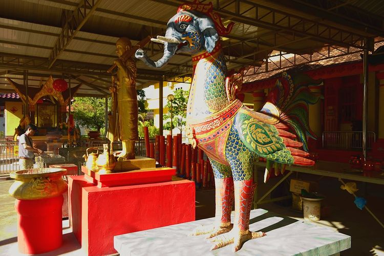 Elephant Head and Bird Body Deity Statue, Buppharam Buddhist Temple, Penang, Malaysia. No People Elephant Head Bird Body Deity Buppharam Buddhist Temple Penang Island Religion Multi Colored Place Of Worship Ornamental Penang, Malaysia Statue