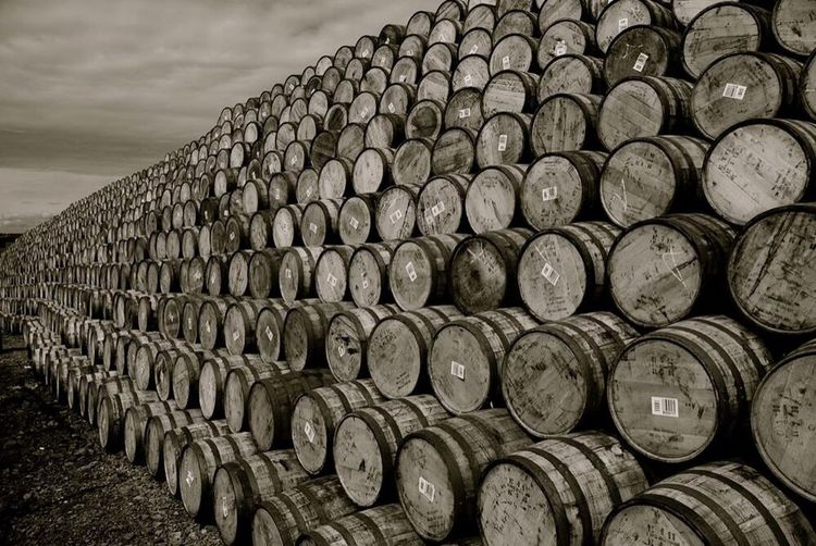 Stack Abundance Large Group Of Objects In A Row Arrangement No People Industry Day Barrel Outdoors Sky Wine Cask Whyskey Scotland Scotland Whisky Single Malt Whisky