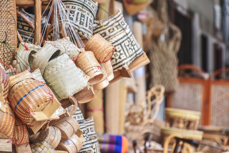 Wicker containers for sale at market