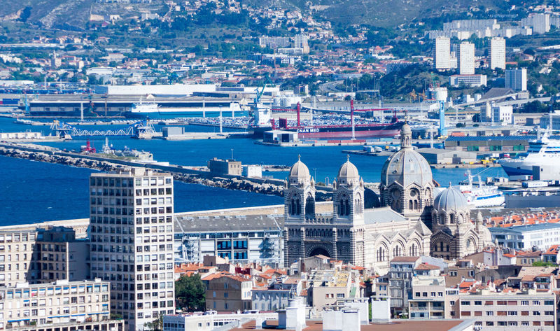 Aerial View Architecture Building Exterior Built Structure City Cityscape Day Dome High Angle View Marseille No People Outdoors Place Of Worship Politics And Government Sea Sky Travel Destinations Water