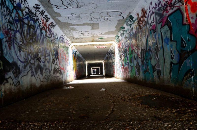 Underground art scene Tunnel Graffiti Leading Lines Streetart Adapted To The City The City Light Summer Exploratorium