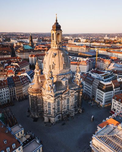 Over the roofs of Dresden Dresden Autumn Built Structure Architecture Building Exterior Sky Building City Nature No People Travel Destinations History The Past Sunset Outdoors Day Religion High Angle View Dome Travel Spirituality
