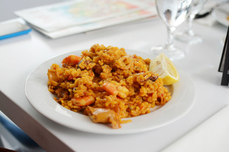 Close-up of fried rice served in plate on table