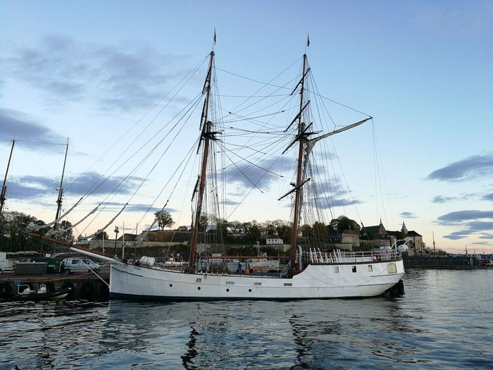 Nautical Vessel Water Sky Cloud - Sky Sea Harbor Reflection No People Outdoors Moored Mast Sailboat Travel Destinations Nature Day Tall Ship Sailing Ship Oslo Norway Oslofjord Reflection Sea Side Sea_collection