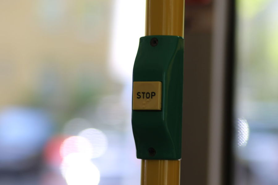 Close-up Day Focus On Foreground Green Color Indoors  No People Public Transportation Stop Stop Button Stop Sign Transportation Yellow