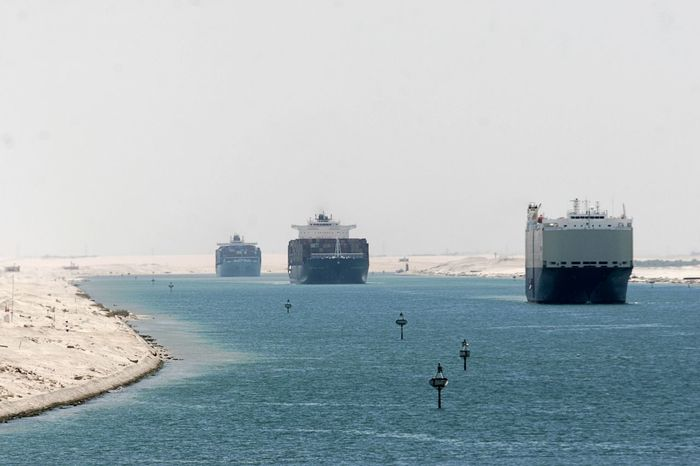 Convoy  Egypt Day Horizon Over Water Nautical Vessel Outdoors Suez Canal Transportation Water Waterway