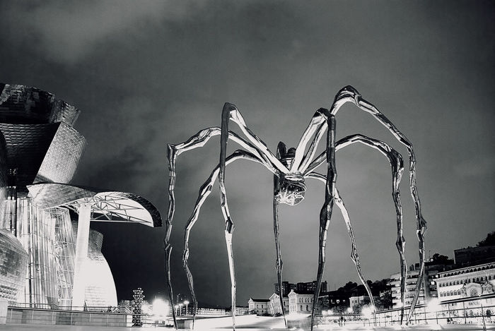 Maman Art Is Everywhere Bilbao Black & White Horror Louise Bourgeois Monster Spider Architecture Art Black And White Building Exterior Built Structure City Guggenheim Bilbao Low Angle View Maman Monsterspider No People Outdoors Sculpture Sculptures Sky Black And White Friday EyeEmNewHere EyeEmNewHere
