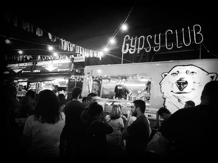 Large Group Of People Crowd Outdoors Night Food Truck Foodie Popckorn Buenos Aires Trucks Festival