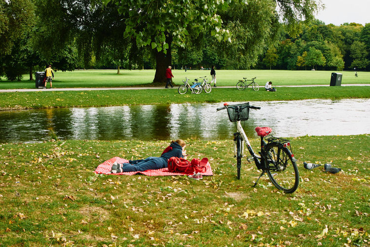 People sitting on bicycle in park