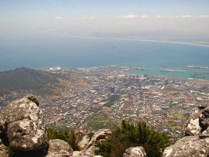 Cape Town From Table Mountain Water Scenics - Nature Architecture Mountain High Angle View Cityscape City In The Background Cape Town In The Background