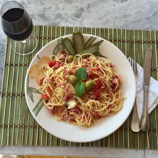 Pasta and wine! Wine Not Food And Drink Lunch Time! Pasta For Lunch Wineglass Pasta Plate Delicious Plate Of Food My Lunch At Home