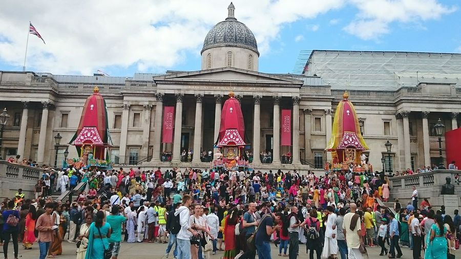 Festival of Chariots, famously known as 'Ratha Yatra' in India but this time at famous Trafalgar Square, London. Trafalgar Square City Of London United Kingdom Festival Festival Of Chariot Festival Of India Ratha Yatra