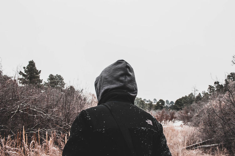 Wanderer. Cold Temperature Day Hood Nature One Person Outdoors Rear View Warm Clothing