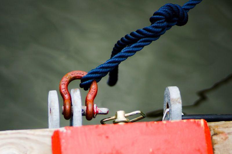 Rope tied to metallic hook